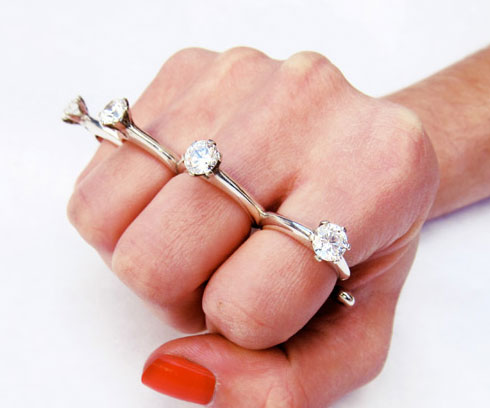 Brass Knuckles Engagement Ring