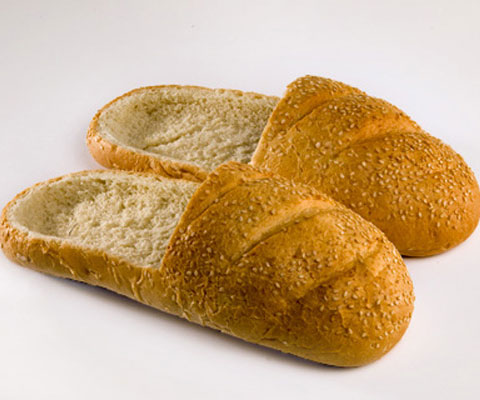 pair of slippers made of loaves of bread