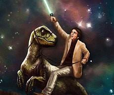 Carl Sagan Dinosaur Jedi Painting