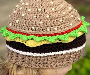 Cheeseburger Crochet Beanie