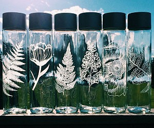 Etched Glass Water Bottles