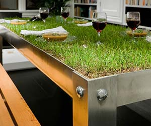 Indoor Grassy Picnic Table