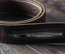 Hidden Pocket Leather Belt