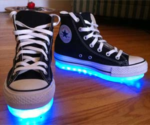 Laser Silver LED Lighted Luminous Women Men Shoes Light Up