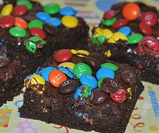 Dark Chocolate M&M Brownies