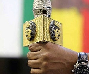 Iced-Out Lion Gold Mic Flag