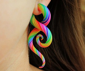 Rainbow Tentacle Faux Ear Plugs