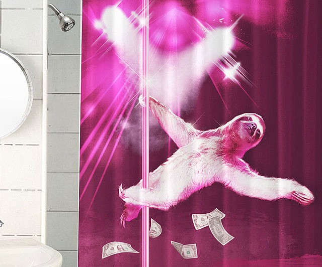 stripper-sloth-shower-curtain
