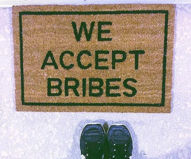 We Accept Bribes Doormat