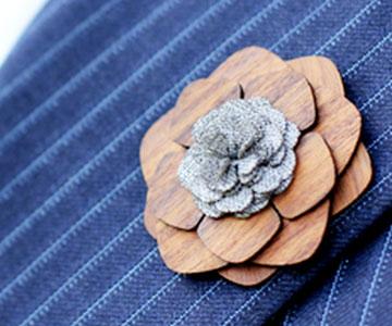 Wooden Lapel Flower